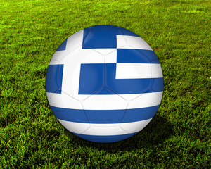 3d Greece Soccer Ball with Grass Background - isolated