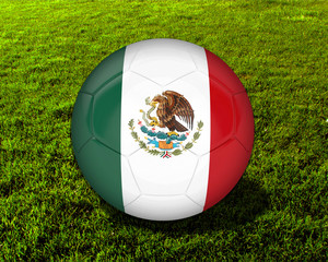 3d Mexico Soccer Ball with Grass Background - isolated
