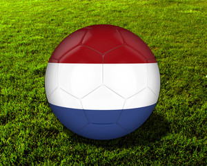 3d Netherlands Soccer Ball with Grass Background - isolated