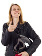 Female motorcyclist showing thumb up