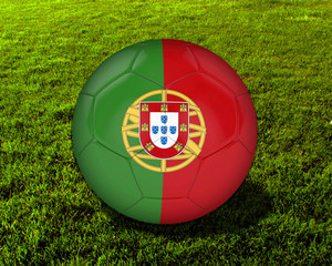 3d Portugal Soccer Ball with Grass Background - isolated