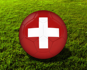 3d Switzerland Soccer Ball with Grass Background - isolated