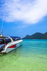 boat on beach of island