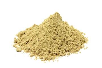 a handful of crushed ginger powder on a white background
