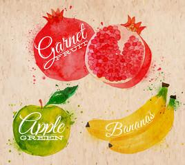 Fruit watercolor watermelon, banana, pomegranate, apple green in