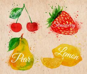 Fruit watercolor cherry, lemon, strawberry, pear in kraft