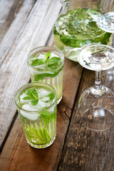 Cold drink with lime and mint. Mojito