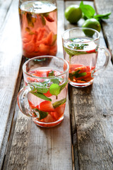 Strawberry mojito in glass cups