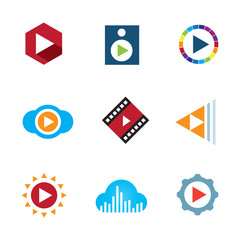Play the video button cloud creative music logo icon tape