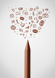 Crayon close-up with social media icons