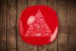 Hand drawn food pyramid on colorful dish plate