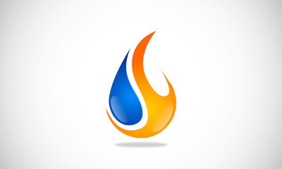 Water Fire Drop vector logo