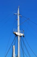 Mast ship against of blue sky