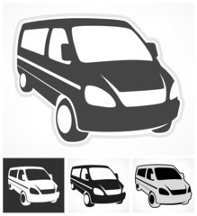 Set of vans on white, design element, vector illustration