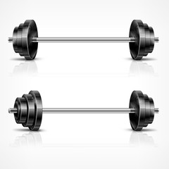 Metallic barbells, fitness and healthy lifestyle concept on