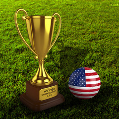 3d America Soccer Cup and Ball with Grass Background - isolated