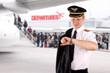 Leinwanddruck Bild - Captain waiting for the departure