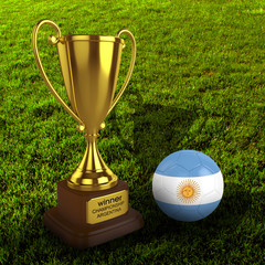 3d Argentina Soccer Cup and Ball Grass Background - isolated