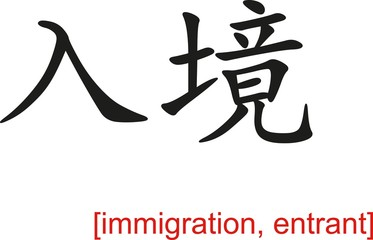 Chinese Sign for immigration, entrant