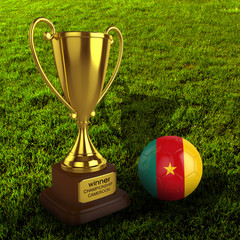 3d Cameroon Soccer Cup and Ball with Grass Background - isolated