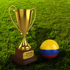 3d Colombia Soccer Cup and Ball with Grass Background - isolated