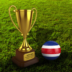 3d Costa Rica Soccer Cup and Ball Grass Background - isolated