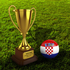 3d Croatia Soccer Cup and Ball with Grass Background - isolated