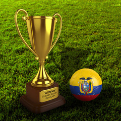 3d Ecuador Soccer Cup and Ball with Grass Background - isolated