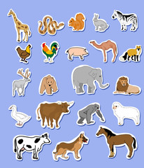 Set of animals  stickers
