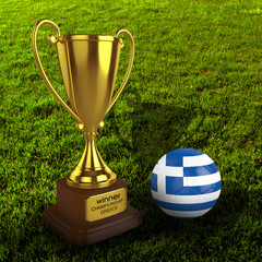 3d Greece Soccer Cup and Ball with Grass Background - isolated