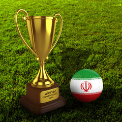 3d Iran Soccer Cup and Ball with Grass Background - isolated