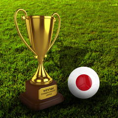 3d Japan Soccer Cup and Ball with Grass Background - isolated