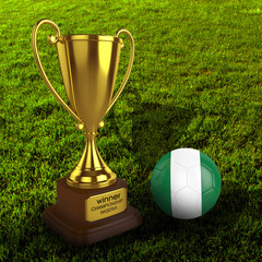 3d Nigeria Soccer Cup and Ball with Grass Background - isolated