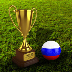 3d Russia Soccer Cup and Ball with Grass Background - isolated