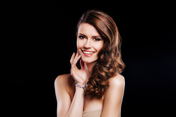 beautiful smiling woman with luxury accessories. perfect make up