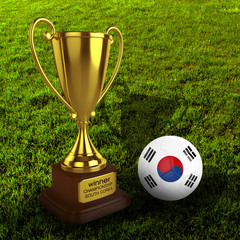 3d South Korea Soccer Cup and Ball Grass Background - isolated
