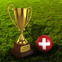 3d Switzerland Soccer Cup and Ball Grass Background - isolated