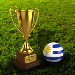 3d Uruguay Soccer Cup and Ball with Grass Background - isolated