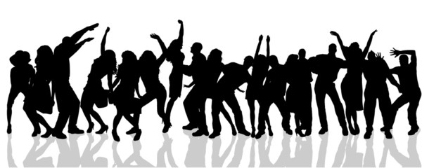 Vector silhouette of people who dance.