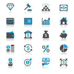 Business and investment flat with reflection icons