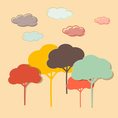 Retro Paper Colorful Trees and Clouds Vector Illustration