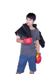 boxer man during boxing exercise
