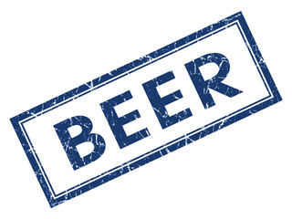 Beer blue square grungy stamp isolated on white background