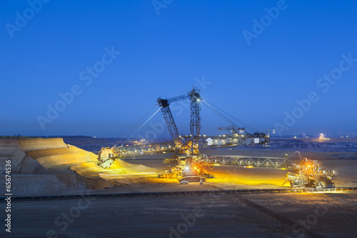 Bucket Wheel Excavator At Night - 65674536