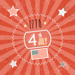 Fourth July 1776 Independence Day Red Retro Background