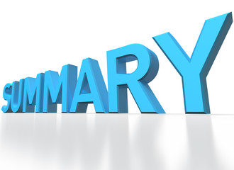 3d rendering of Summary blue glossy text on white background