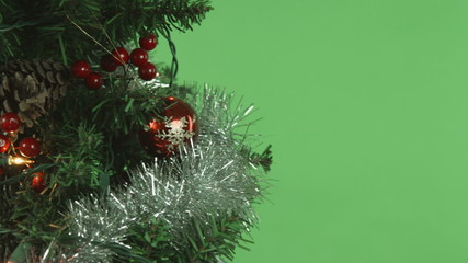christmas tree isolated on chroma green screen background