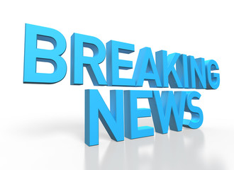 3d rendering of Breaking News blue glossy text on white backgrou