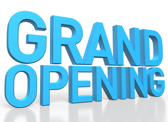 3d rendering of Grand Opening blue glossy text on white backgrou