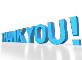 3d rendering of Thank you blue glossy text on white background
